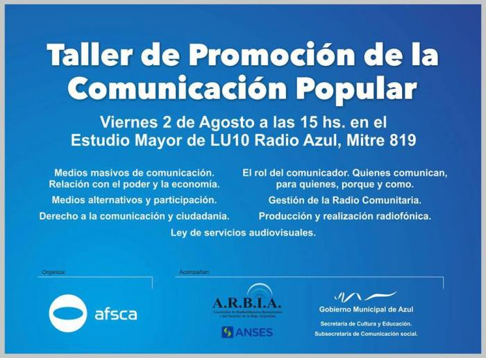 AZUL - TALLER DE COMUNICACION POPULAR - FLYER
